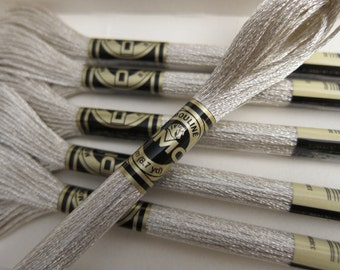 Metallic Silver, E168, DMC Cotton Embroidery Floss - 8m / 8.7 yd. Skeins - Available in Single Skeins & in Full (6 skein) Boxes