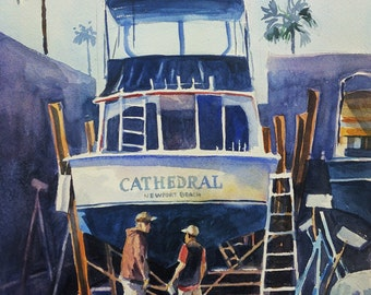 Original Watercolor of The Boat Yard, Newport Beach
