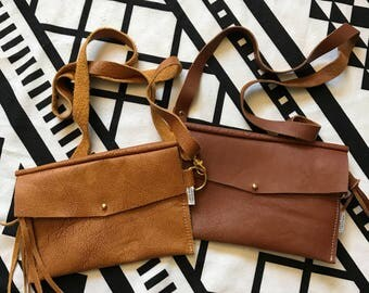 Distressed Canary or Brown Leather Festival Hip Bag and Purse