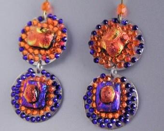 Super Disco Danglers with Purple and Orange Swarovski Sparkle
