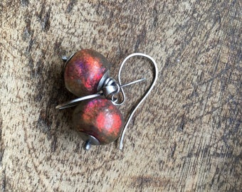 Rustic Jewelry . Iridescent Ruby Basha lamp work bead dangle - sterling casual dangle earrings . mystery . mixed color lamp work . artisan