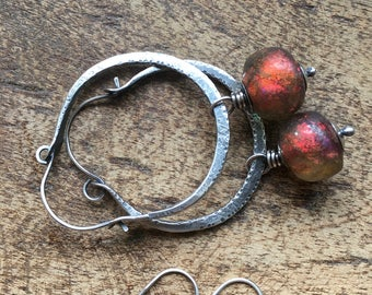 Rustic Hoops 2 in 1 Artisan Sterling Silver 'Because the Wind is High' a126- Iridescence artisan lamp work  shimmery Basha bead in red pink
