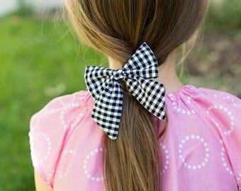 Girls Black White Gingham Big Sailor Bow Hair Clip Toddler Accessory Checks