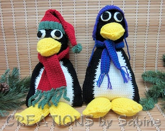 Penguin Nursery Decor Large Crochet Plush Toy Hat & Scarf Red Green Purple Blue Decoration Baby Kids Toy Vintage FREE SHIPPING (522/523)