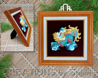 Chinese Ceramic Foo Dog Dragon Framed Picture 3D Colorful History Brown Wood Matted Velvet Wall or Table Lion Vintage FREE SHIPPING (630)