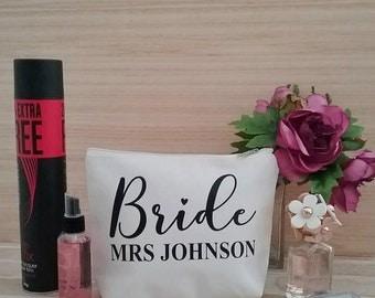 Personalised Bride makeup Bag, Bride bag, wedding makeup bag, personalised makeup bag, Bridesmaids Make up bag, personalised toiletry bag,