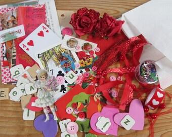 Collage kit, paper goodies, goodie bag, red , craft supplies, art journaling, scrapbooking