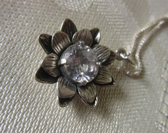 Shine Zircon Statement Pendant - Double Flower Pendant