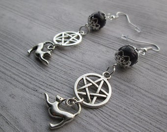 Blessed is the Familiar Earrings, Cat Familiar earrings, Witches Familiar earrings, Witch's Familiar, Cat earrings, Witch's cat earrin