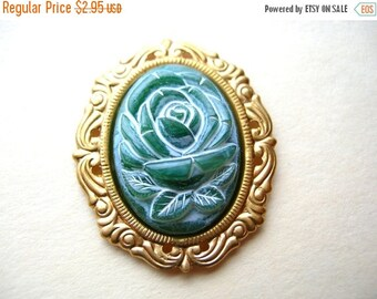 6 Vintage Rose Cabochons - Vintage Rose Cameos - Green Rose Cabochons 25x18mm - 25mm x 18mm Oval Cabochons