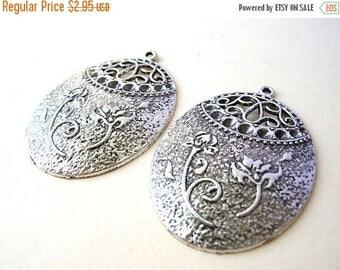 2 Silver Tone Bohemian Pendants - Jewelry Findings - Large Oval Pendants