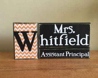 Personalized Assistant Principal gift - wood principal name block - teacher gift - principal gift - teacher appreciation-end of school year