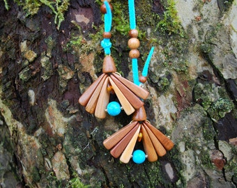 Spring Flowers Plum Wood Turquoise Amber Beads Necklace, Nature Eco Friendly Brown Blue Pendant, Woodland Rustic Necklace, Boho Wood Pendant