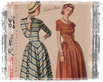 Vintage 1950s Simplicity Dress Pattern, 1950s Dress, Fitted Dress, Small