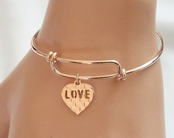 Rose Gold Bangle Bracelet, HEART Bracelet, LOVE Bracelet, friendship, Valentine Bracelet, Bridesmaid Gift