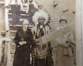 Flappers & the Indian Chief Vintage Photo