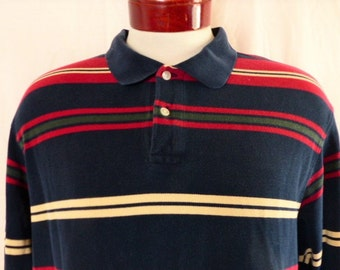 vintage 90's Roundtree & Yorke pique knit long sleeve polo shirt color block horizontal stripe navy blue wine red hunter green yellow XL