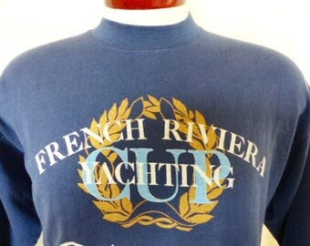 vintage 80s 90's French Riviera Yachting Cup Cannes Cote D'Azur navy blue fleece graphic sweatshirt sky blue white metallic gold wreath logo