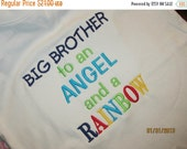 ON SALE Big Brother to an ANGEL and a Rainbow Custom embroidered saying shirt or one piece w/snaps, Toddlers Girls, Boys