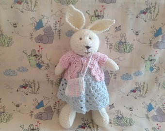 Knitted toy, soft toy, baby gift, handmade toy, kids toy rabbit, bunny, hand knit toy, present for kids, stuffed toy, plushie, bedtime bunny
