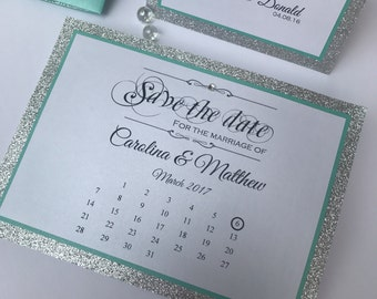 Save the date in turquoise and silver glitter - teal save the date - wedding save the date - save the date card