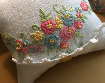 Vintage hand embroidered floral pincushion