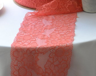 "25 yards Coral  Lace Trim 8"" wide   /Perfect for Lace  Table Runners / Clothing / Beach Wedding Barn Wedding / Bulk lace"