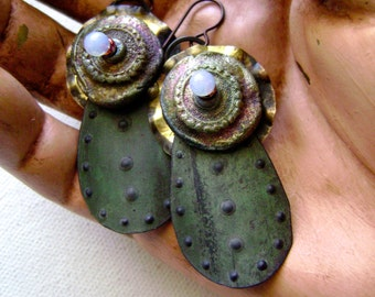 mixed media assemblage earrings with raku, verdigris patina, artisan ceramic, lampwork headpins, asymmetrical rustic earring, AnvilArtifacts