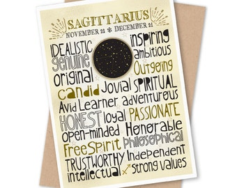 Zodiac Birthday Card - Astrology Sign, Sagittarius Constellation, Typography Art
