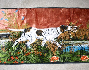 1970s Tapestry Wall Hanging . Vintage 70s Bird Dog Pointer Retro Wall Art . Man Cave Hunter Hanging or Rug . Duck Hunting