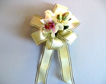 Tropical wedding bow, Bridal shower decoration, Anniversary gift, Gift for Brides, Gift bow, Orchid & rose decoration, Gift decoration