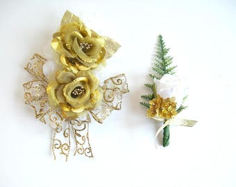 Corsage and boutonniere, 50th wedding anniversary decorations, Golden anniversary set, Special celebration boutonniere and corsage