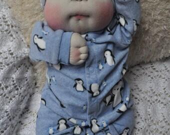 "Fretta's OOAK Soft Sculptured Newborn Baby Boy, Textile Baby Doll, 47 cm / 18.5"" tall"