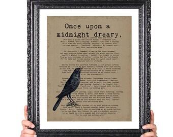 MIDNIGHT DREARY,  Nevermore, Edgar Allan Poe Quote Art, Vintage Raven Image, Library Decor, Halloween Decor, Macabre Art, Literary Art