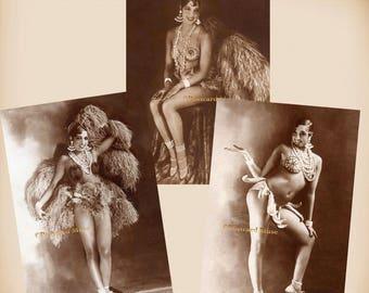 Josephine Baker On Stage - 3 New 4x6 Vintage Image Photo Prints - JB01-02-03