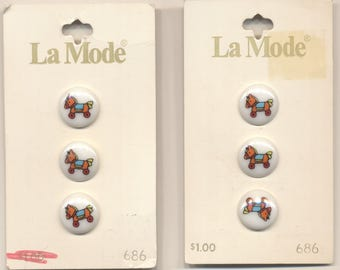 Six Matching Vintage Toy Horse Rocking Horse Buttons
