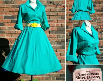VLV Plus Size Vintage Turquoise Day Shirt Dress Rockabilly Pinup