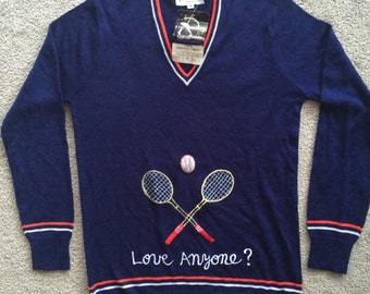 Deadstock vintage tennis Love anyone? Rochelle California medium shirt top sweater blue stripped v neck sport long sleeve!