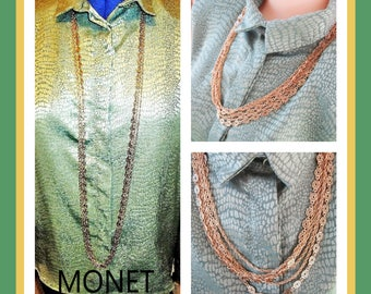 Monet Gold Multi Strand Chain Necklace Vintage Jewelry Gift Birthday Special Occasion Designer