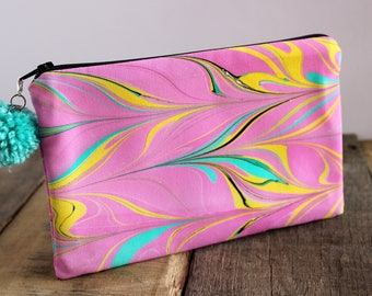 Waterlily Hand Marbled Zip Pouch, Cosmetic Pencil Makeup Bag Pouch Case for Kids College School Teens Women Organize
