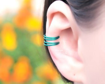 No Piercing Green Cartilage Ear Cuff Double Rings/piercing imitation/fake faux piercing/ear jacket manchette/ohrklemme ohrclip/conch earcuff
