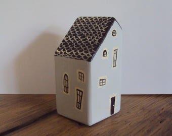 Miniature Folk Art House - Tiny Folk Figurine - Little Wooden Gray Village Cottage - Decorative Wood Houses - Handpainted Minimalist Decor