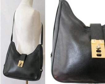 Pourchet Paris black leather Bag I  90s Paris leather shoulder  bag