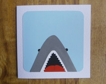 Large Shark card.Individually handmade card with a seaside theme.Suitable for any occasion