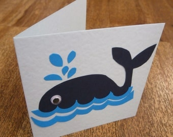 Fun whale card.Individually handmade card with a seaside theme. Suitable for any occasion