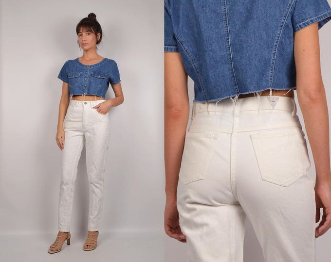 Vintage White High Waisted Skinny Jeans