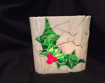 Christmas Holly candle holder