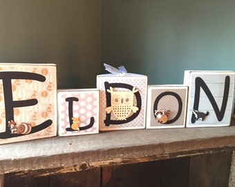 Custom Family Name Block Personalized Baby Blocks Nursery Letters Wood Blocks for Kids Wooden Letters Nursery Family Sign