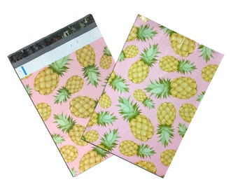"""100Pack 10x13"""" Beautiful Pink Pineapple FLAT POLY Mailers -Hawaiian Dream Self Adhesive Poly Mailing Bags, 10x13"""" Business Mailing Bags"""