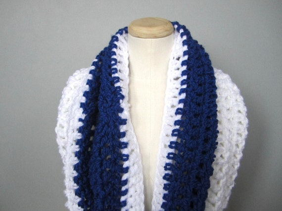 Crochet Royal Blue and White Toronto Maple Leafs, Tampa Bay Lightning, Indianapolis Colts Team Colors Infinity Scarf, Unisex Scarf
